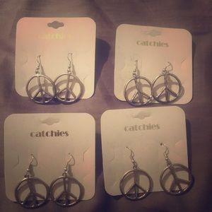 Peace sign earrings, lot of 4, silvertone